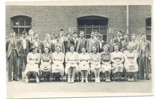 5th form class at The Fawcett School, 1949 (David Blackford is 4th from the left).   Photo from the private collection of David Blackford