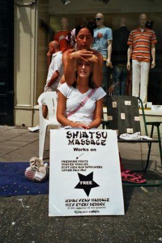 Shelley-Anne (Molly), offering Shiatsu massage on East Street | Photo taken by Zoe Bradford