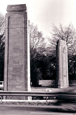 Stone pylons on the A23 outside Brighton | Image reproduced with permission from Brighton History Centre