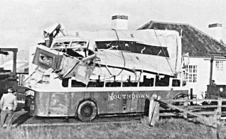 The crashed Southdown bus | Photo by Bob Herrick