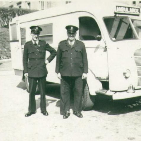 Percy Type and colleague with an Austin 'Wayfarer