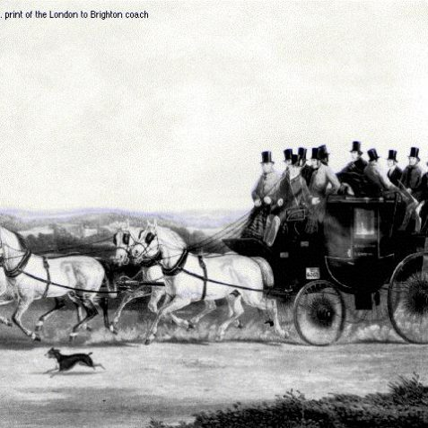 An early 19 C print of the London-Brighton coach | Image from the 1994 My Brighton museum exhibit
