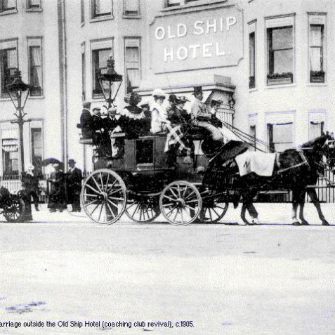 Horse-drawn carriage outside the Old Ship Hotel, c.1905 | Image from the 1994 My Brighton museum exhibit