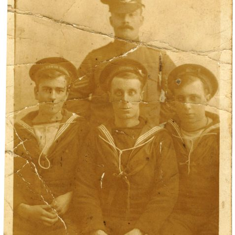 Alf is lower centre sailor with his brother George on the right | From the private collection of J. Hamblett