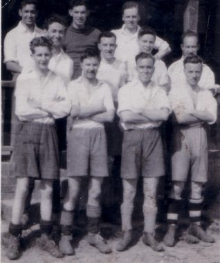 This is the Lewes Road Office Staff Football Team in the 1940's  Back Row (LtoR)---  ?- Harwood- Ginger?  Centre Row (LtoR)---Stoner-Christmas-Divall-Russell  Bottom Row (LtoR)---Claridge-Hammond-?-Wingham - Click on the image to open a larger version in a new window | From the private collection of Desmond Divall