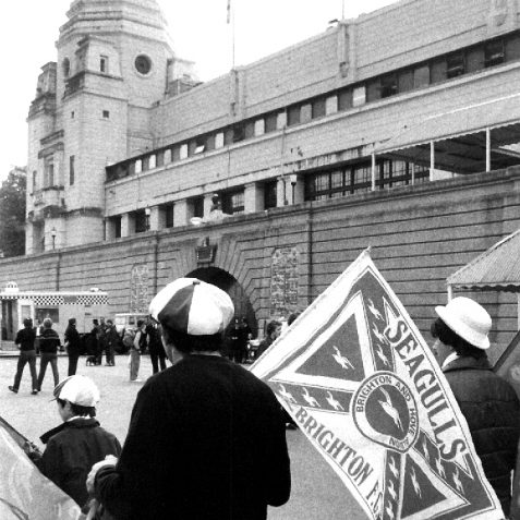Happy fans outside Wembley   Bob Herrick