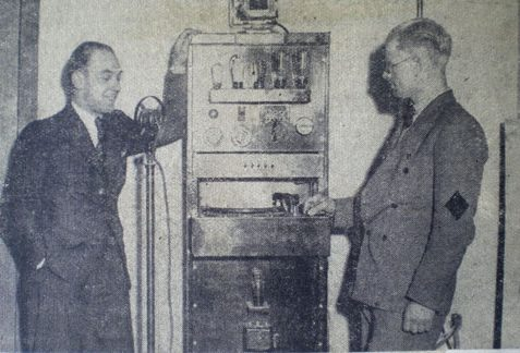D. Mitchell inspecting the new SS Brighton amplifier.