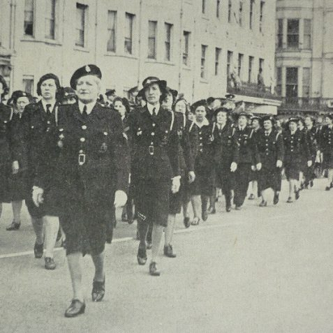 Women's Civil Defence Wardens, location unknown, could be the seafront | Photo from the 1946 book,