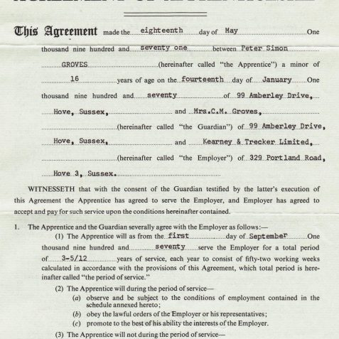 Agreement of Apprenticeship | From the private collection of Peter Groves