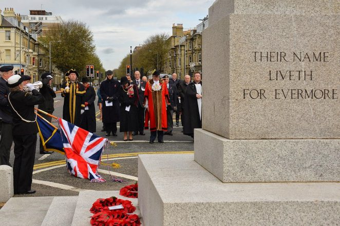 The Mayor and Mayoress of Brighton and Hove, Councillor and Mrs Brian Fitch, at the Hove War Memorial, Grand Avenue. | ©Tony Mould: images copyright protected