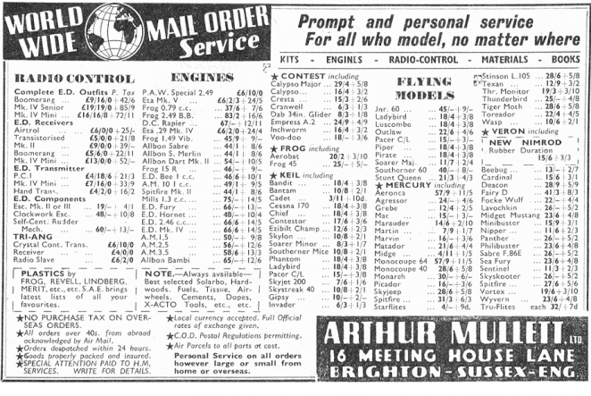 Arther Mullet Model Shop Advert 1958 | From the private collection of Danny Bloomfield