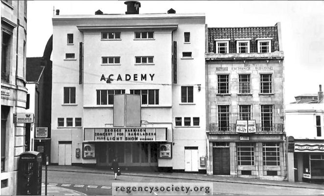 The  Academy Cinema, West Street, which was remodelled in 1939,  photographed on 22 October 1972. | Image reproduced with kind permission of The Regency Society and The James Gray Collection