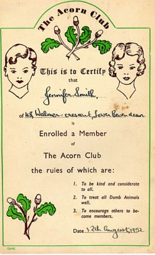 Acorn Club membership | From the private collection of Jennifer Tonks nee Smith