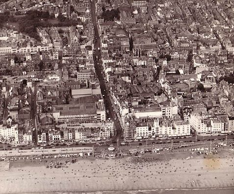 Aerial view of the seafront and West Street, 20 June 1956 | Image scanned from the collection of Trevor Chepstow, Sports Stadium Brighton Archive