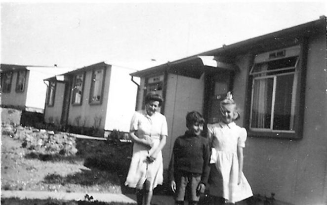 My mother, myself and my cousin, mid 50's outside our prefab | From the private collection of Alan Drake