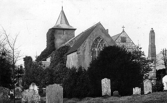 All Saints Church, Patcham, from south east. c1960 | From the private collection of Martin Nimmo