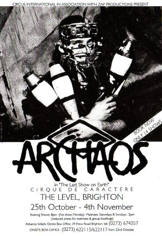 Archaos flyer | Image from the Zap archive