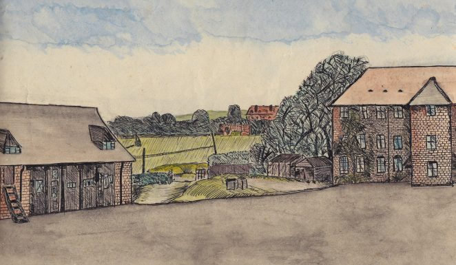 View towards the rifle range and the Sacred Heart Convent | Original artwork by Anthony Martlew c.1940