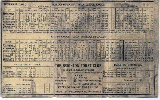1893 Brighton to London timetable | From the private collection of Jim Type