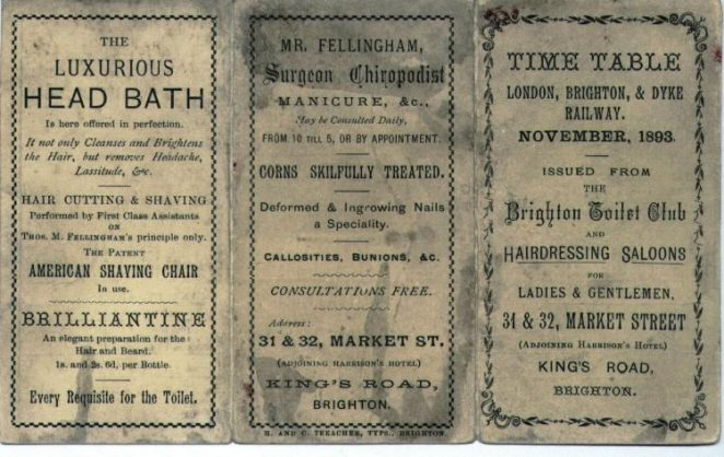 1893 Brighton to London timetable | From the private collectin of Jim Type