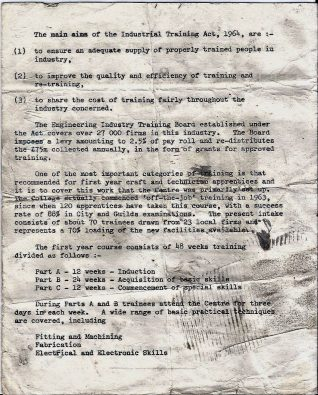 Introductory leaflet 1967 - Training objectives | Private collection of John Knight