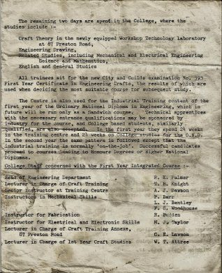 Introductory leaflet 1967- Training programme and list of lecturers | Private collection of John Knight
