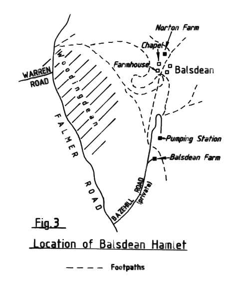 Map of the location of Balsdean hamlet | Reproduced with permission from the Encyclopaedia of Brighton by Tim Carder, 1990