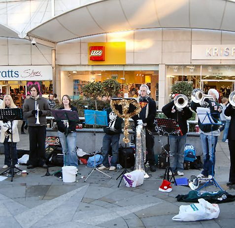 This band certainly livened up Churchill Square | Photo by Tony Mould