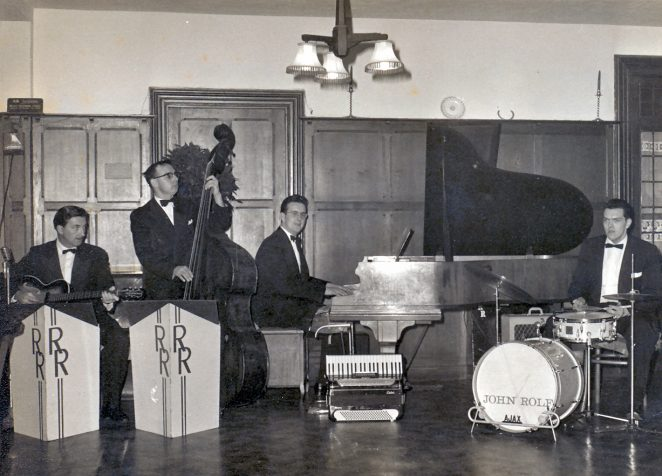 Jim Sayer  Guitar/Vocals, Len Monk Double Bass, Barrie Searle Piano/Accordion and John Rolf Drums | From the private collection of Barrie Searle