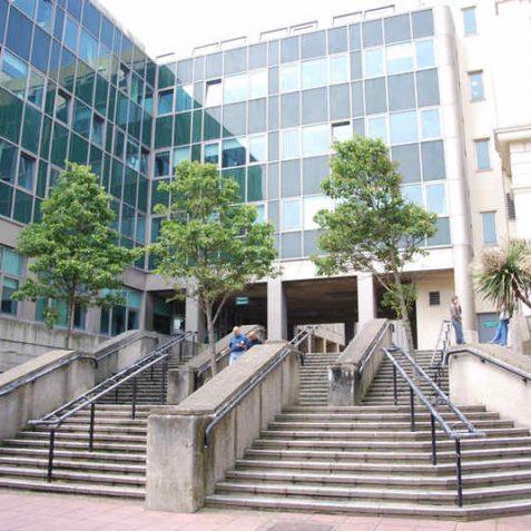 Sweeping stairway entrances to Bartholomew Square