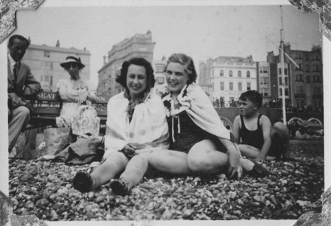 My mother, on the right, on Brighton beach 1940 | From the private collection of Chris Pellett