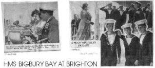 The Mayor of Brighton, Mrs Dorothy Stringer on board HMS Bigbury Bay | Photo supplied by Arthur Loosley, Brighton and Hove Herald
