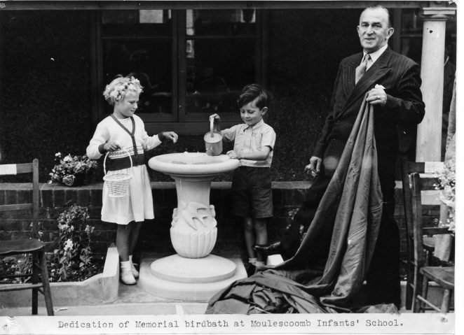 Alderman Horace Robbins unveils the Memorial Birdbath | From the private collection of Geoff Robbins