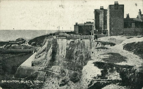 The collection of buildings that stood at Black Rock viewed from the cliff top at Roedean. | From the private collection of Tony Drury
