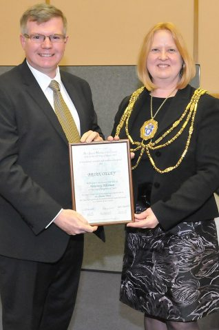 Brian Oxley with the Mayor of Brighton and Hove, Councillor Anne Meadows | Photo by Tony Mould