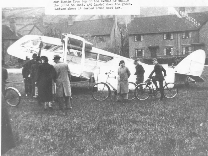 The eight seater aeroplane which performed an emergency landing on Moulsecoomb Green | From the private collection of Alan Smith