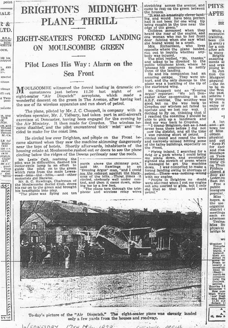 Argus article regarding the aeroplane landing | From the private collection of Alan Smith