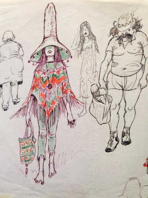 Characters on Brighton beach | Artist: Queenie Heath