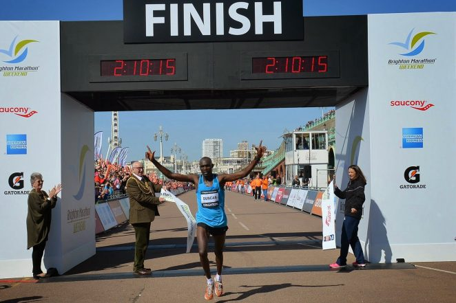 Kenyan Duncan Maiyo wins the Brighton Marathon 2015 | ©Tony Mould: images copyright protected