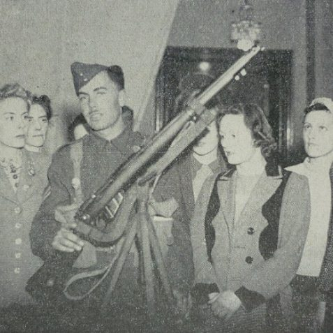 Brighton Woman's Home Defence League learn about the rifle | Photo from the 1946 book,