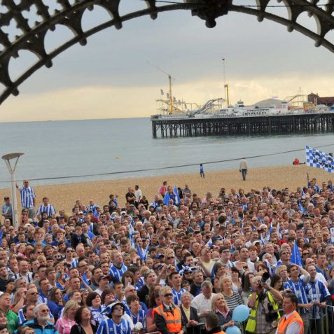 Celebrating Brighton and Hove Albion's promotion | Photo by Tony Mould