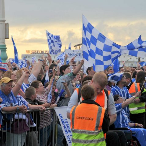 Celebrating Brighton and Hove Albion's promotion