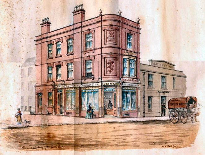 Proposed rebuilding of 84 North Road | Drawing by E.H.Nash 13th September 1886: from the private collection of Angela Simmons