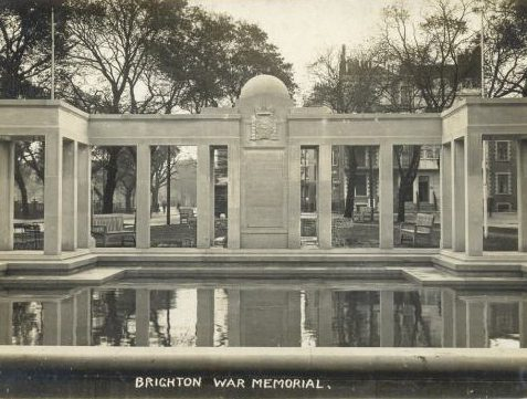 The War Memorial in the Old Steine was unveiled on 7th October, 1922.  It was designed in the style of a Roman water garden. | From the private collection of Tony Drury