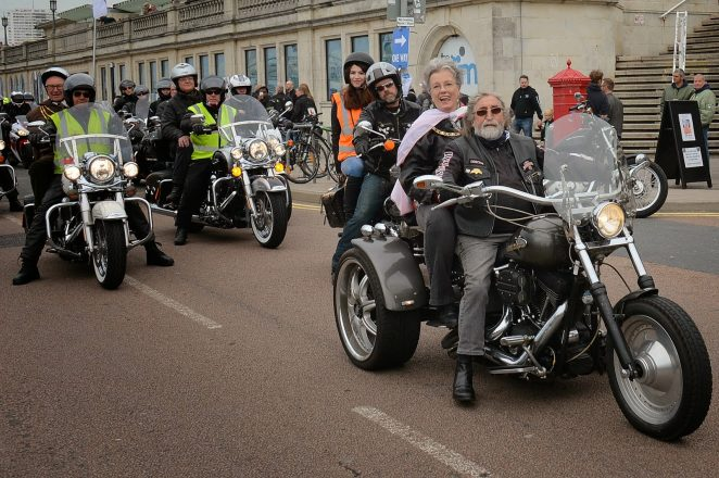 Mayoress Mrs Norah Fitch is driven by Brightona organiser Abby Goldin, followed closely by the Mayor Councillor Brian Fitch | ©Tony Mould: all images copyright protected