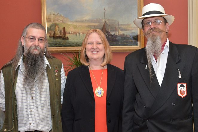 Contenders in the Beard and Moustache Championship with the Deputy Mayor, Councillor Anne Meadows. | Photo by Tony Mould