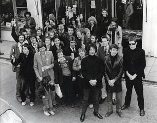 Attrix band members outside Attrix Records in Sydney Street. | From the private collection of Jay Derrick