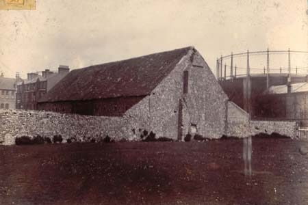 Photo of the barn and gasometer, 1892