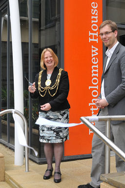The Mayor, Councillor Anne Meadows cuts the ribbon at the opening of the new facility, watched by Councillor Jason Kitcat, Cabinet Member for Finance and Central Services | Photo by Tony Mould