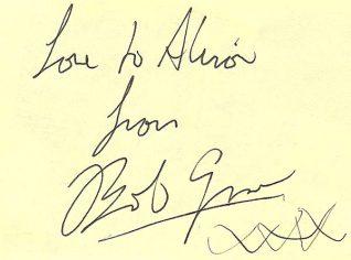'Boring' Bob Grover's autograph   Image from Alison Clough